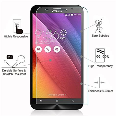 Razoqy Tempered Glass Premium Asus Zenfone 2 5 5inch zenfone 2 screen protector pleson 174 anti scratch asus zenfone 2 5 5 inch tempered glass