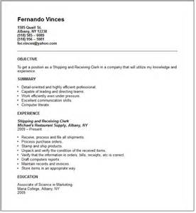 shipping and receiving resume exle free templates