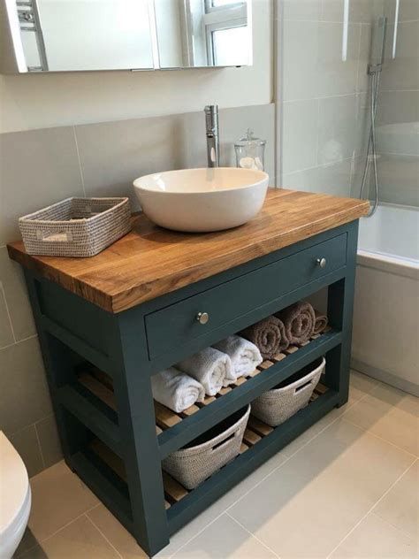 Bathroom Washstands Furniture Handmade Solid Oak Vanity Unit Washstand Bathroom Furniture Bespoke Rustic Ebay