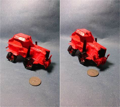 Origami Tractor - this week in origami autumn leaves edition