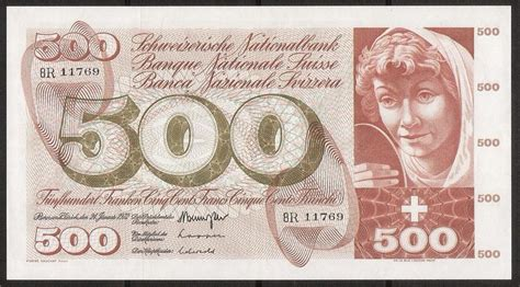 currency chf swiss banknotes chf 500 swiss francs banknote of 1972