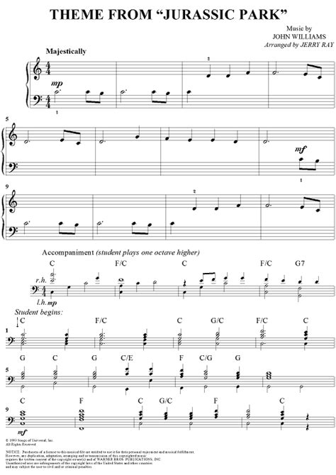 theme songs jurassic park theme from jurassic park sheet music for piano and