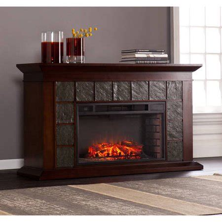 60 electric fireplace bishop 60 quot electric fireplace with faux slate for tvs up to 58 quot warm brown walnut walmart