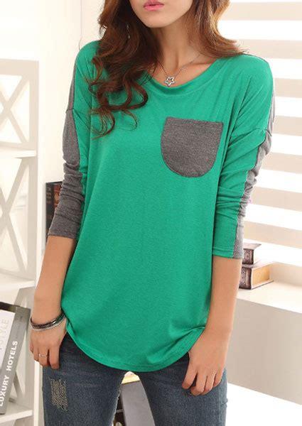 Blouse Fs05 Jfashion pocket splicing sleeves blouse fairyseason