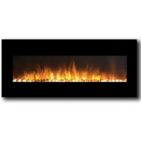 Fireplace Pebbles by Milan 50 Inch Pebbles Electric Wall Mounted Fireplace Black