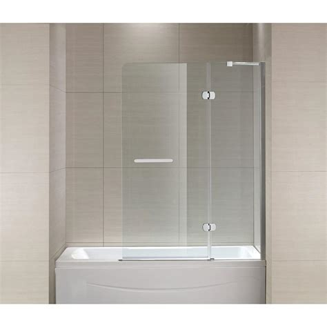 glass pivot bathtub doors schon mia 40 in x 55 in semi framed hinge tub and shower