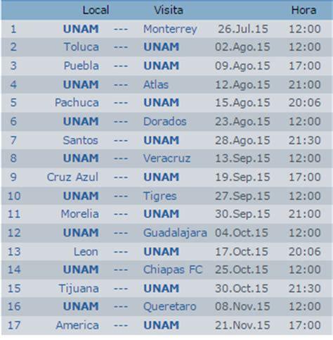 Calendario Apertura 2015 Calendario Pumas Unam Apertura 2015 Futbol Mexicano