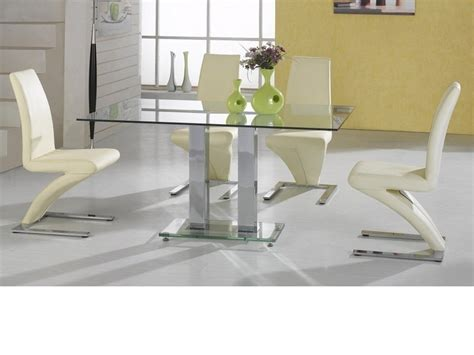 Large Clear Glass Dining Table And 4 Chairs In Cream Clear Glass Dining Table And 4 Chairs
