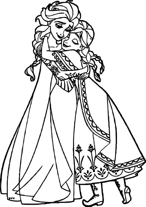 coloring pages elsa and anna anna elsa hugging coloring page wecoloringpage