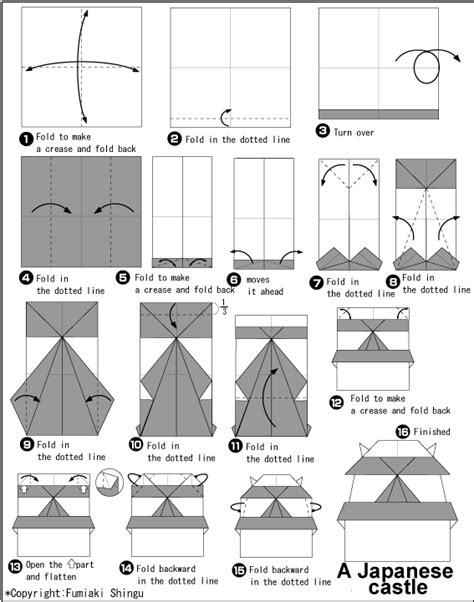 How To Make A Origami Castle - diagram