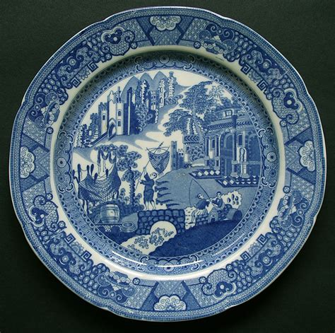 blue and white pattern plates english pearlware pottery fisherman and castle pattern