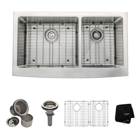 home depot apron sink kraus 36 inch farmhouse apron 60 40 double bowl 16 gauge