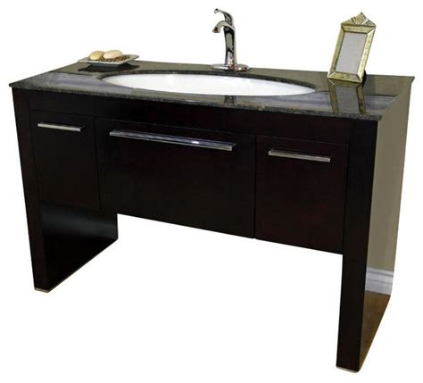 55 inch single sink bath vanity walnut contemporary