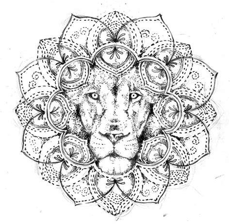 lion blumen lion head in mandala flower tattoo design by agresivoo