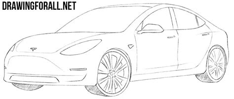 Tesla Drawings How To Draw A Tesla Model 3 Drawingforall Net