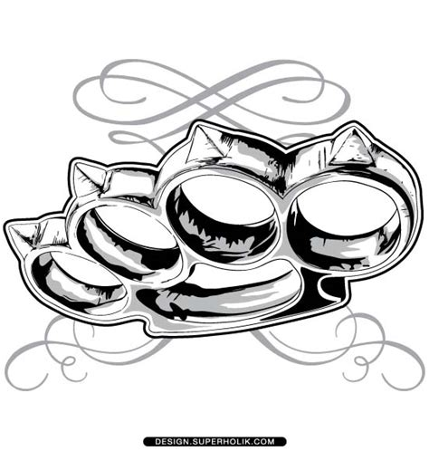 brass knuckle tattoo fashion design templates vector illustrations and clip