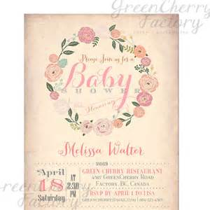 items similar to baby shower invitation vintage background wreath summer floral