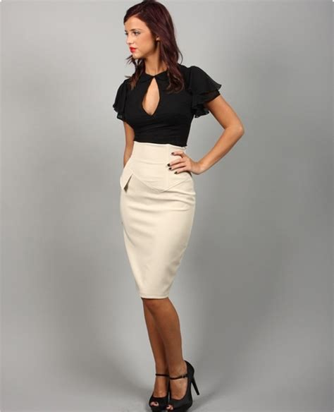 high waisted pencil skirt petticoat in style
