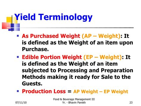 weight management meaning standard recepies standard specifications yield analysis