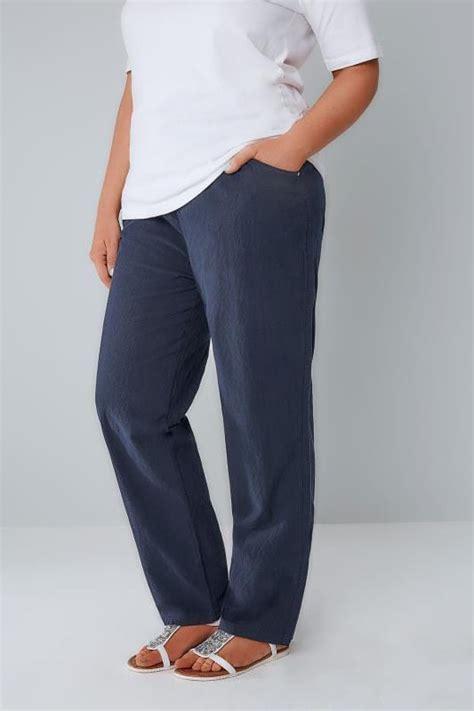 Leg 200 Medium Size Ekman Grab Sler Bottom Grab Sler navy cool cotton pull on wide leg trousers with pockets plus size 16 to 36