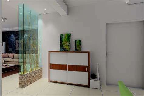 partition room glass partition between entrance and living room 3d house