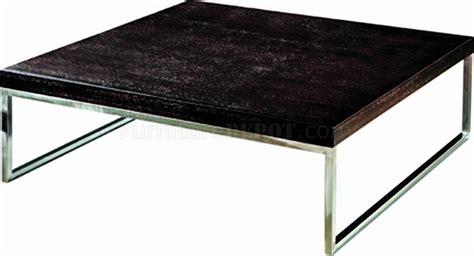 Wenge Finish Modern Coffee Table w/Chrome Legs