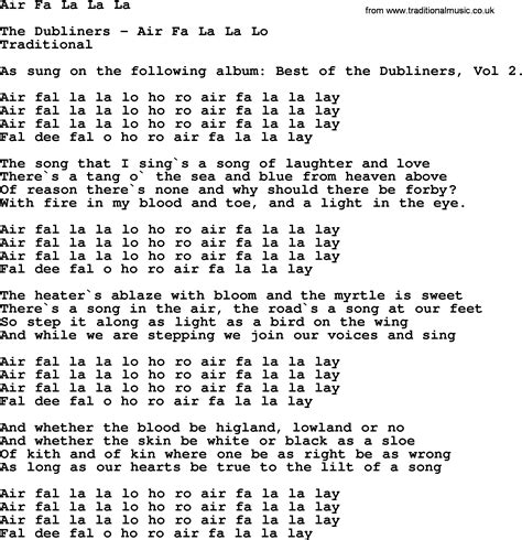 In L Lyrics by Air Fa La La La By The Dubliners Song Lyrics And Chords