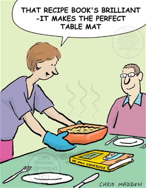 Cooking cartoons: using a recipe book as a table mat for