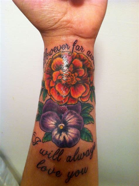 grandpa tattoos designs quot however far away i will always you quot with a marigold