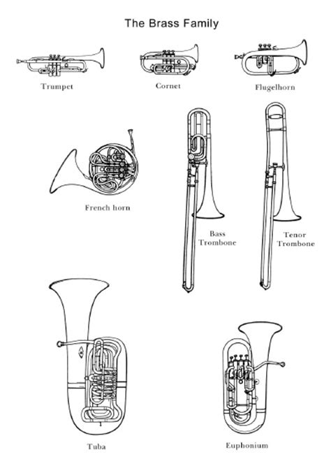 woodwind family coloring page the brass family images would be great to use in an