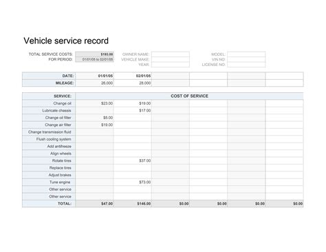 car service sheet template vehicle service record template