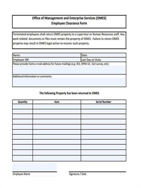 clearance form employment clearance form 5 free documents in word pdf