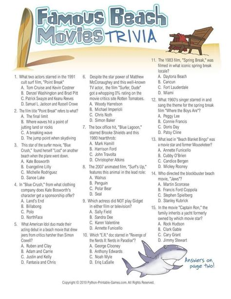 theme quiz with answers beach games famous beach movies trivia 6 95 beach