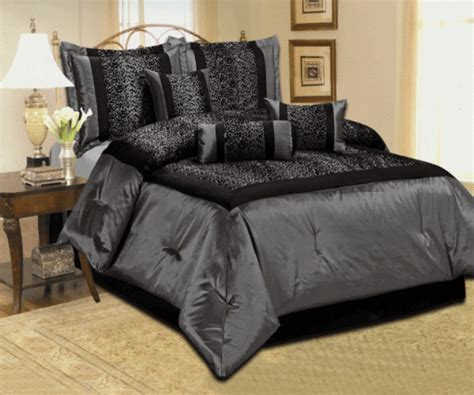 black satin comforter queen 7 piece queen leopard silver gray black satin comforter set
