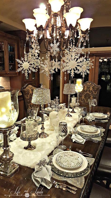 black and white christmas table decorations snowflakes and baubles tablescape and