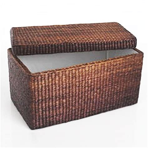 Wicker Storage Bench Rattan Basket Storage Bench