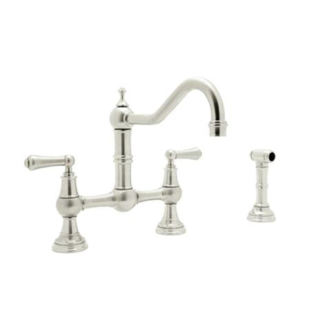 Nickel Faucets Kitchen Rohl Perrin And Rowe 2 Handle Bridge Kitchen Faucet In Polished Nickel U 4756l Pn 2 The Home Depot