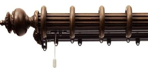 decorative double traverse curtain rod somerset 2 1 4in double track system with rings fascia
