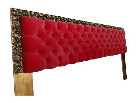 red tufted headboard bohemian king size tufted velvet headboard chairish