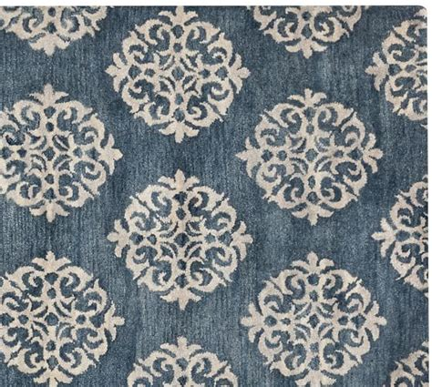 pottery barn kitchen rugs empire scroll rug indigo pottery barn