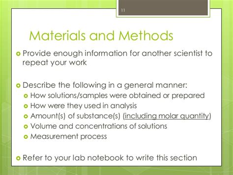 materials and methods section the do s don ts of lab reports mcgill sus peer tutoring