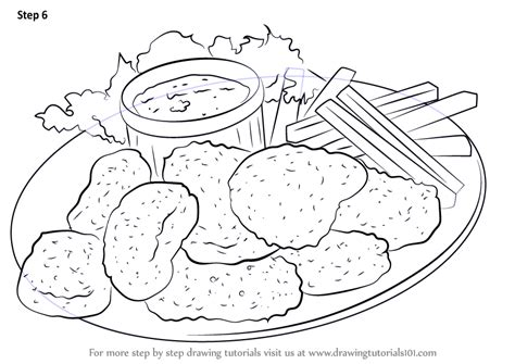 chicken sandwich coloring page buzz coloring learn how to draw chicken nuggets snacks step by step