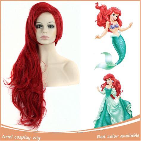 Wig 70 Cm Tsn mermaid ariel wig 1pc 28inch 70cm synthetic wavy color s wigs