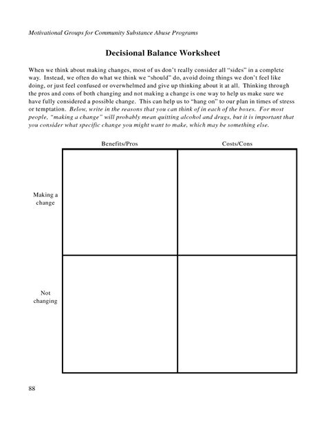 Detox Therapy Crossword by Free Printable Dbt Worksheets Decisional Balance