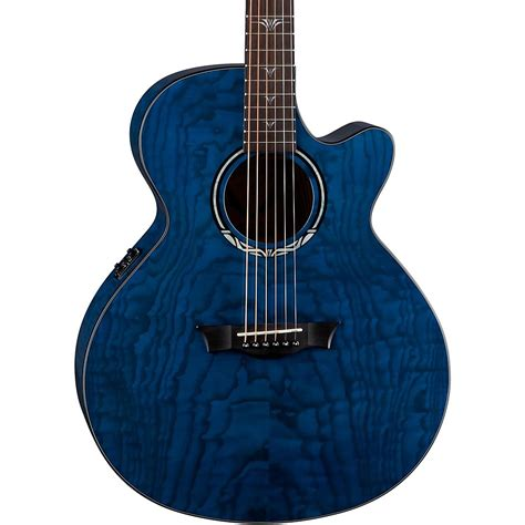 blue dean dean performer ultra quilt acoustic electric guitar trans