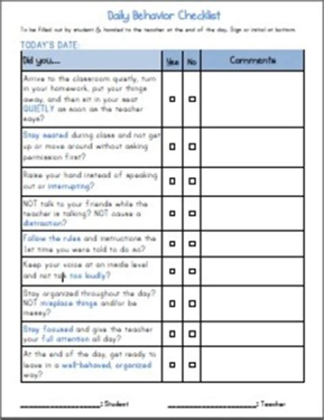 Adhd Daily Elementary Student Behavior Self Checklist By Dot Tpt Adhd Documentation Template