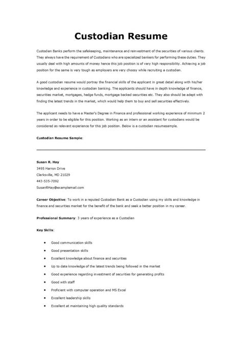 Janitorial Resume Templates by Custodian Resume It Resume Cover Letter Sle Custodian
