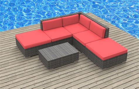 bali 6pc ultra modern wicker patio set coral