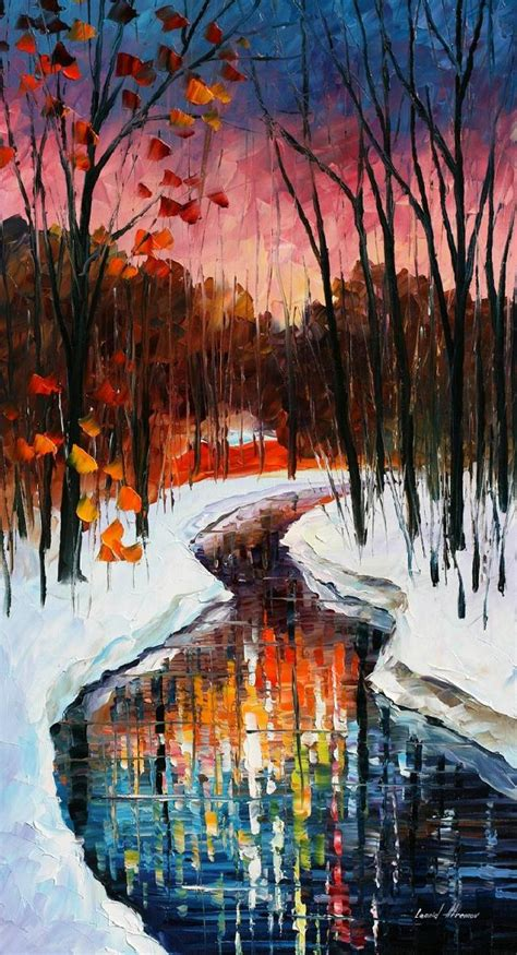 winter stream palette knife oil painting on canvas by