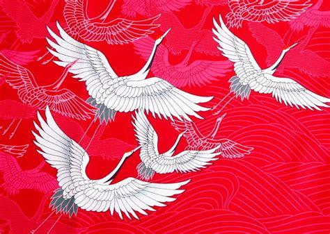 japanese pattern robe japanese crane cotton fabric bird kimono pattern red